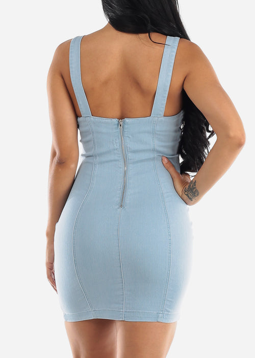 Light Wash Denim Bodycon Dress