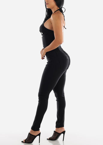 Image of Tie Halter Butt Lifting Black Jumpsuit