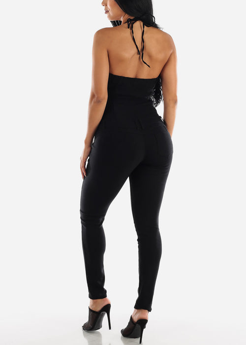 Tie Halter Butt Lifting Black Jumpsuit