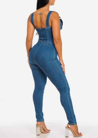 Stylish Med Wash Belted Denim Jumpsuit