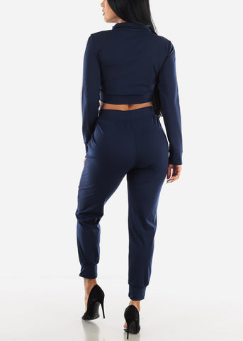 Blue Zip Up Top & Joggers (2 PCE SET)