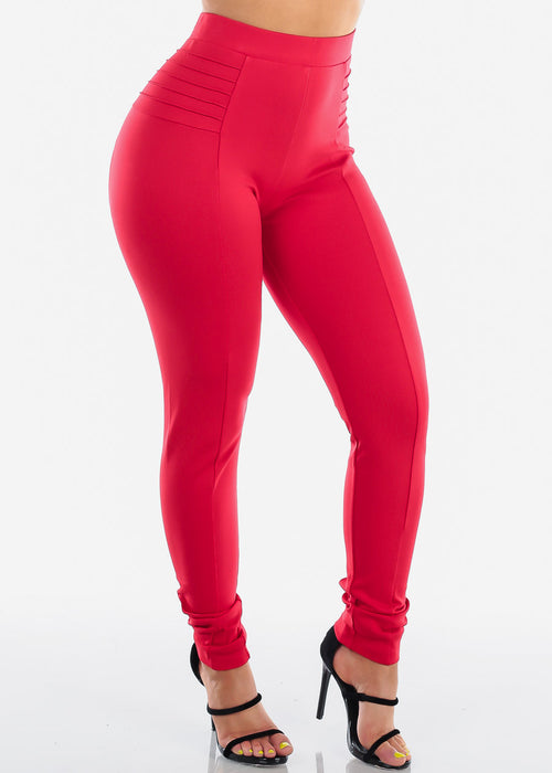 Women's Junior Ladies Sexy Clubwear Night Out Stylish Tummy Control High Waisted Solid Red Dressy Skinny Pants