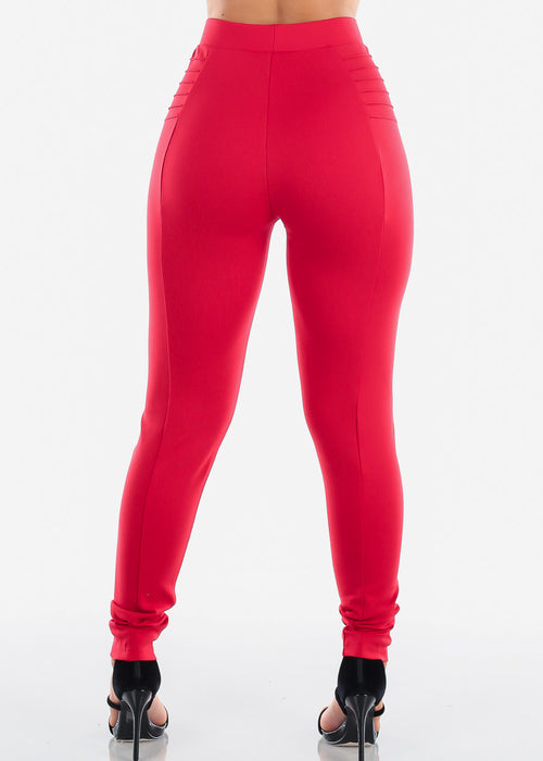 High Rise Red Dressy Skinny Pants