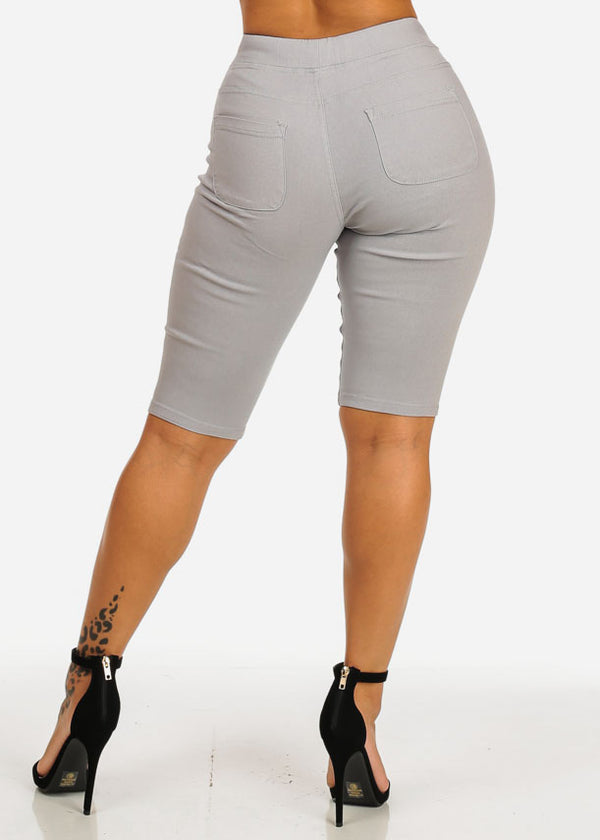 High Waist Slim Fit Grey Capri Shorts
