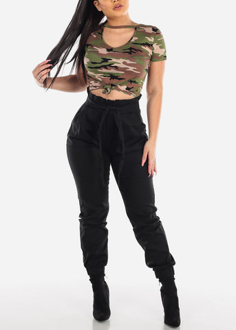 Image of Front Knot Camouflage Crop Top