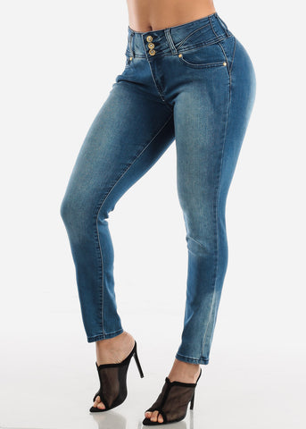 Butt Lifting High Rise Med Wash Skinny Jeans