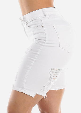 Torn White Denim Bermuda Shorts