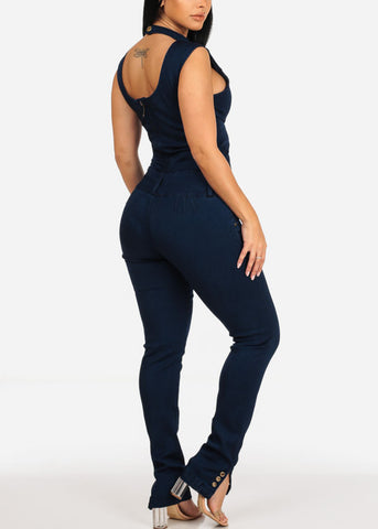 Dark Wash Lace Up Denim Jumpsuit