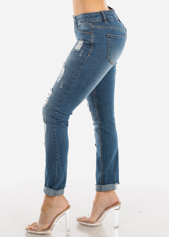 Image of Dark Faded Torn Skinny Jeans