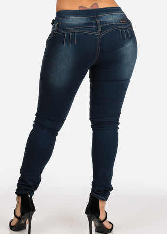 Image of Med Wash Levanta Cola Butt Lifting High Rise Skinny Denim Jeans