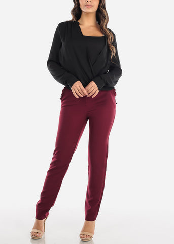High Rise Straight Leg Burgundy Dress Pants