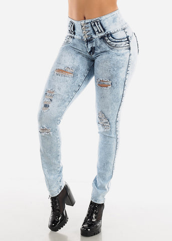 Faded Torn Butt Lifting Skinny Jeans