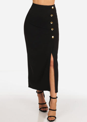 Image of Women's Junior Ladies Sexy Going Out Super Cute Dressy Gold Button Detail Black Maxi Long Skirt