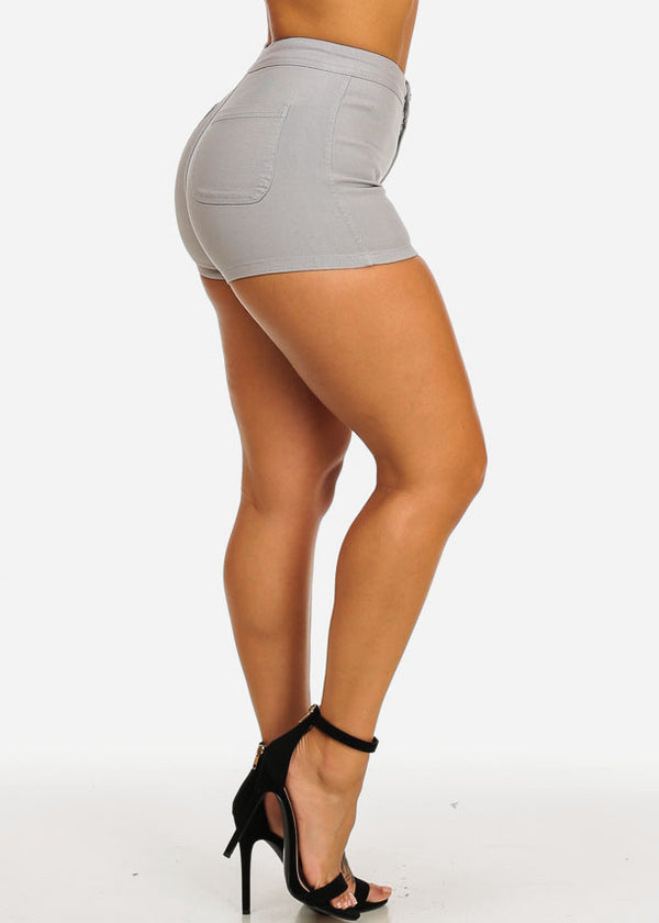 Grey High Rise Summer Shorty Shorts