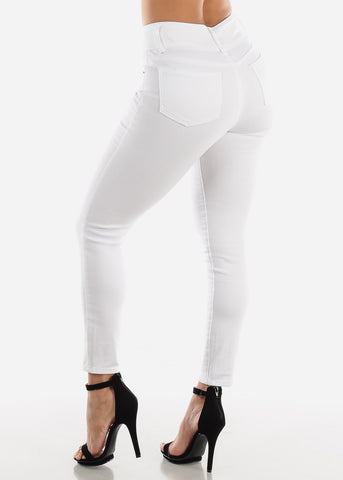 Image of High Waisted White Skinny Jeans
