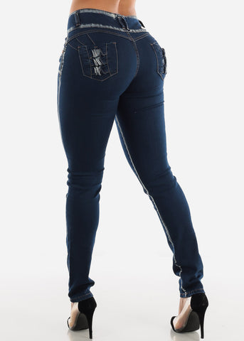 Butt Lifting Low Rise Dark Wash Skinny Jeans