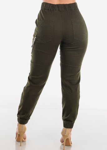 Image of Chain Detail Olive Jogger Pants