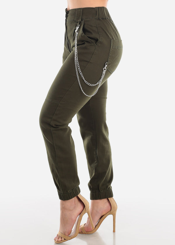 Chain Detail Olive Jogger Pants