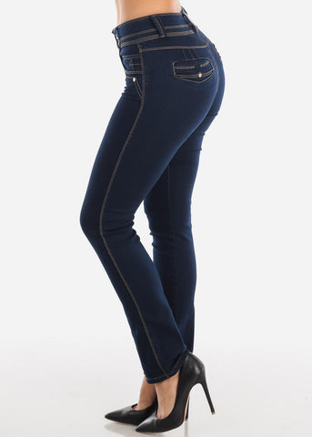 Image of Butt Lifting Dark Wash Bootcut Jeans