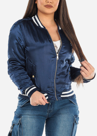 Image of Silky Navy Bomber Jacket
