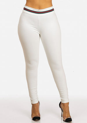 Evening Wear White High Waist Skinny Pants with Green Stripe