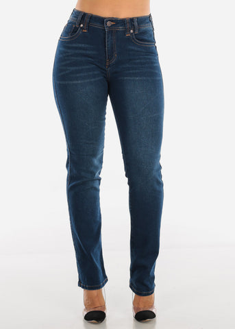 Image of Mid Rise Levanta Cola Dark Wash Bootcut Jeans