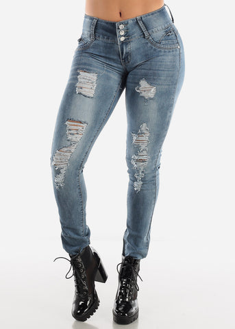 Levanta Cola Low Rise Faded Skinny Jeans