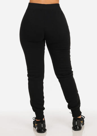 High Rise Black Jogger Pants