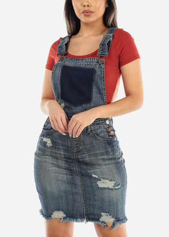 Image of Faded Wash Denim Overall Dress