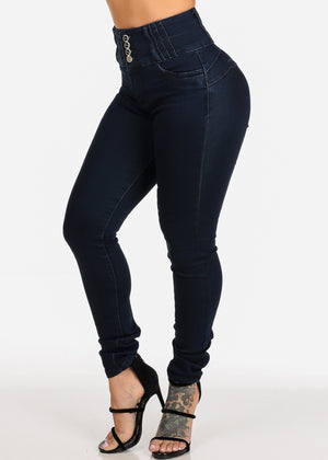 High Waisted Butt Lifting Dark Wash Skinny Jeans