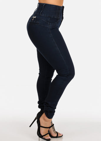 Image of High Waisted Dark Wash Sexy Butt Lifting Push Up Skinny Jeans