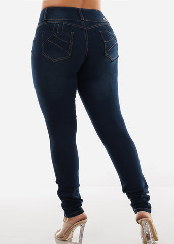 Dark Wash Plus Size Torn Butt Lifting Skinny Jeans