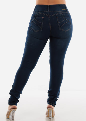 Image of Dark Wash Torn Butt Lifting Skinny Jeans SIZES 13-15-17