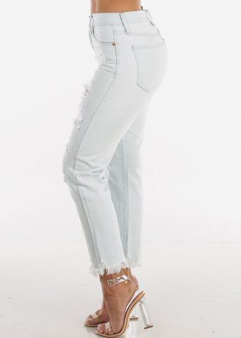 Image of Light High Rise Distressed Boyfriend Jeans