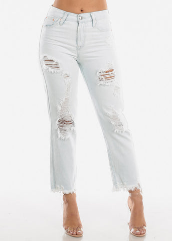 Light High Rise Distressed Boyfriend Jeans