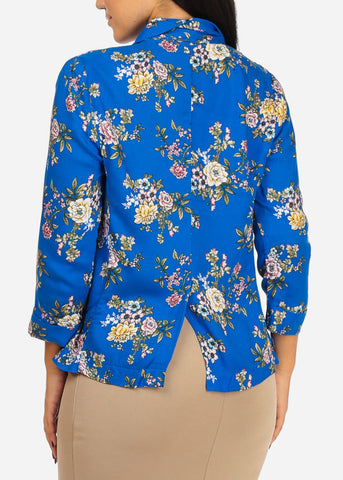 Lightweight Floral Royal Blue Blazer
