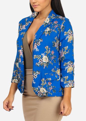 Image of Lightweight Floral Royal Blue Blazer