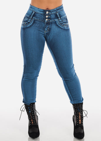 Image of Butt Lifting Acid Wash Blue Skinny Jeans