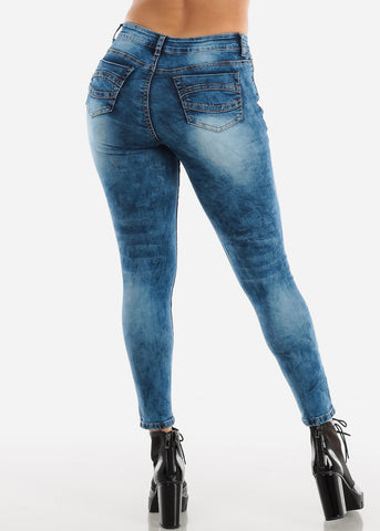 Image of Dark Wash High Rise Ripped Jeans