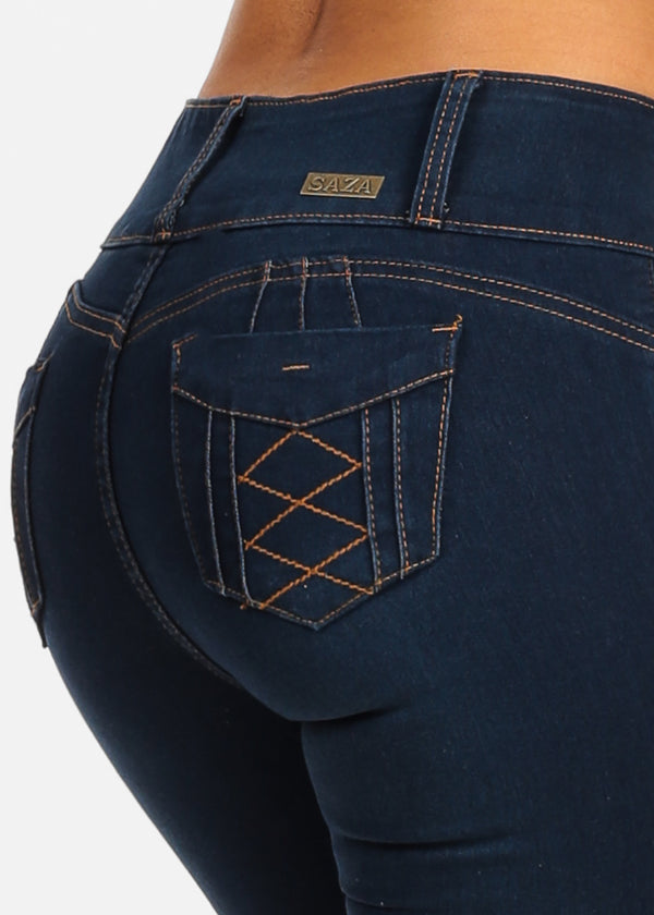Sexy Levanta Cola Dark Wash Mid Rise Butt Lifting Skinny Jeans