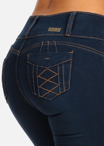 Image of Sexy Levanta Cola Dark Wash Mid Rise Butt Lifting Skinny Jeans