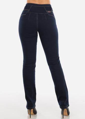 High Rise Butt Lifting Dark Wash Bootcut Jeans