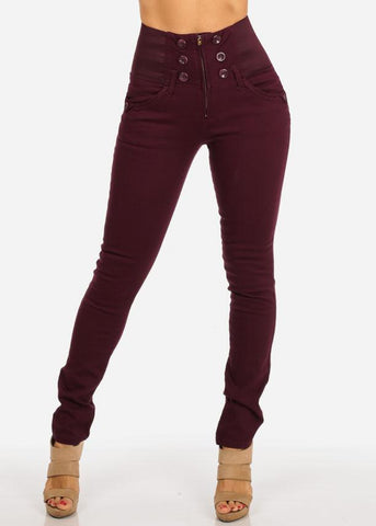 Image of Burgundy Skinny Jeans