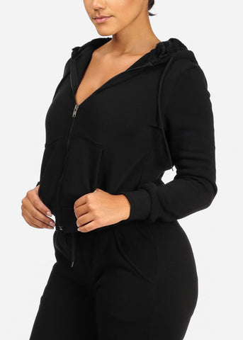 Image of Cozy Black Sweater W Fuzzy Hoodie