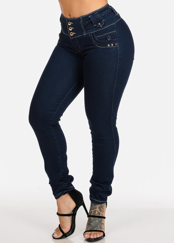Image of Mid Rise Dark Wash Sexy Butt Lifting Push Up Skinny Jeans