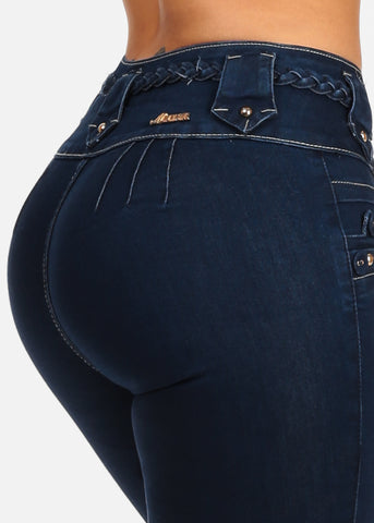 Mid Rise Dark Wash Sexy Butt Lifting Push Up Skinny Jeans