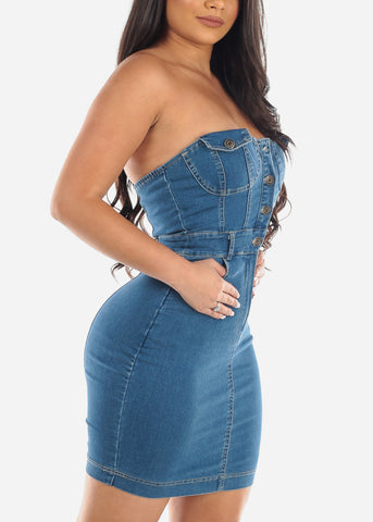 Image of Sexy Med Wash Strapless Denim Jean Stretchy Mini Dress Night out