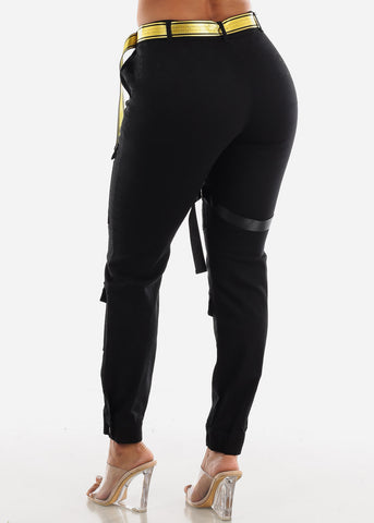 Image of High Rise Cargo Pants Belted Black