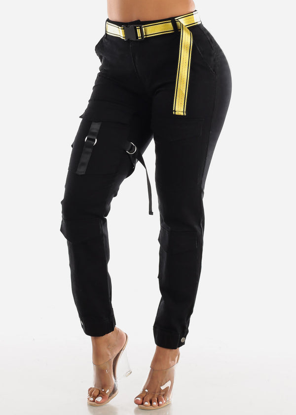 High Rise Cargo Pants Belted Black