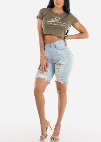 Double Sided Torn Light Wash Bermuda Shorts